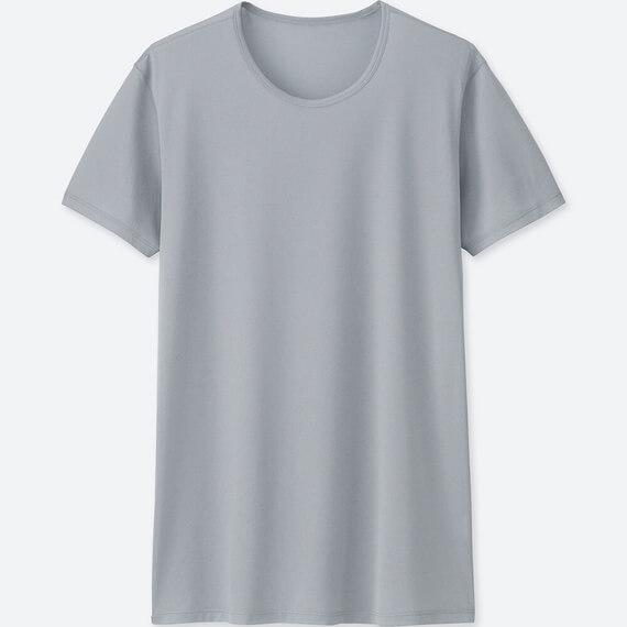 ユニクロ エアリズムメッシュクルーネックT(半袖 メンズ グレー