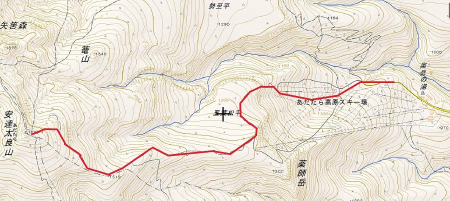 地形図 安達太良山ゴンドラコース
