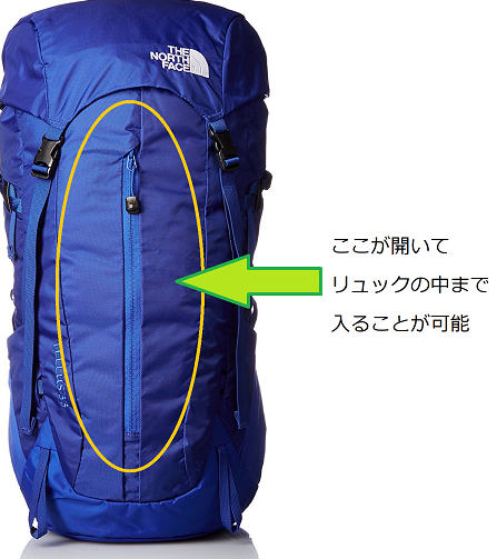 rucksack ノースフェイス テルス33 フロントポケット説明