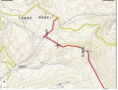 地図 野地温泉 鬼面山 箕輪山コース01