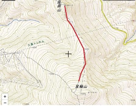 地図 野地温泉 鬼面山 箕輪山コース02