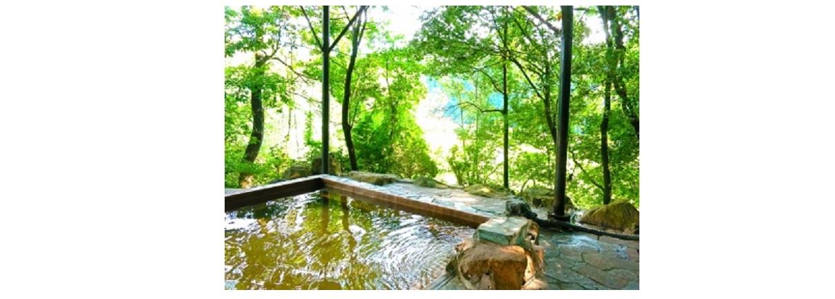 露天風呂と新緑