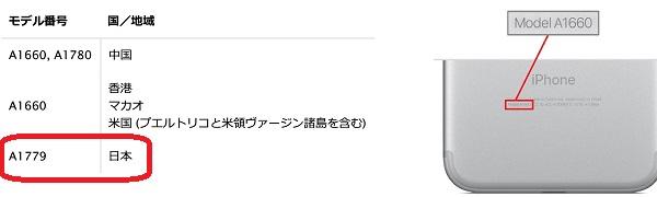 iPhone7修理モデルNo