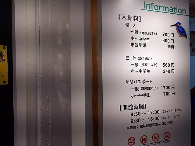 アクアマリンいなわしろカワセミ水族館内   インフォメーション(料金 時間)