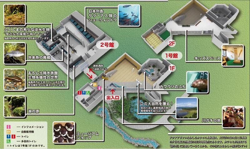 アクアマリンいなわしろカワセミ水族館 館内マップ