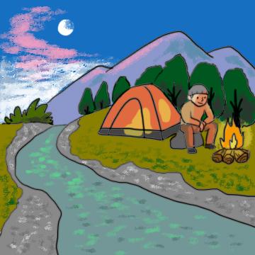 山でキャンプ
