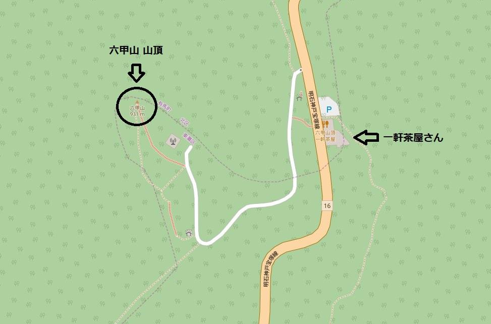 六甲山 一軒茶屋近くの地図