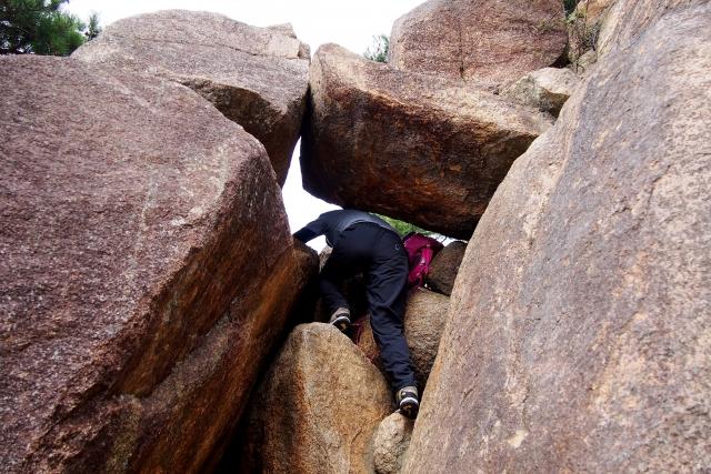 六甲山登山 岩登り