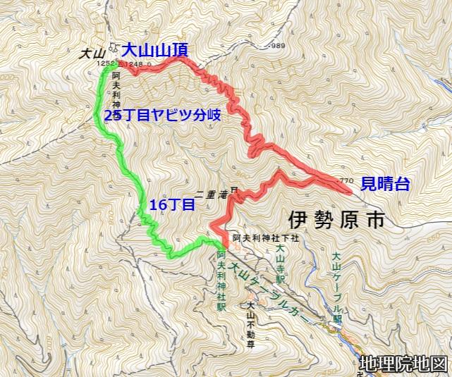 丹沢大山登山ルート 地理院地図