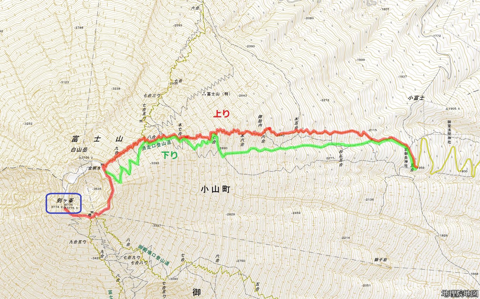 富士山須走口 コース図 地理院地図