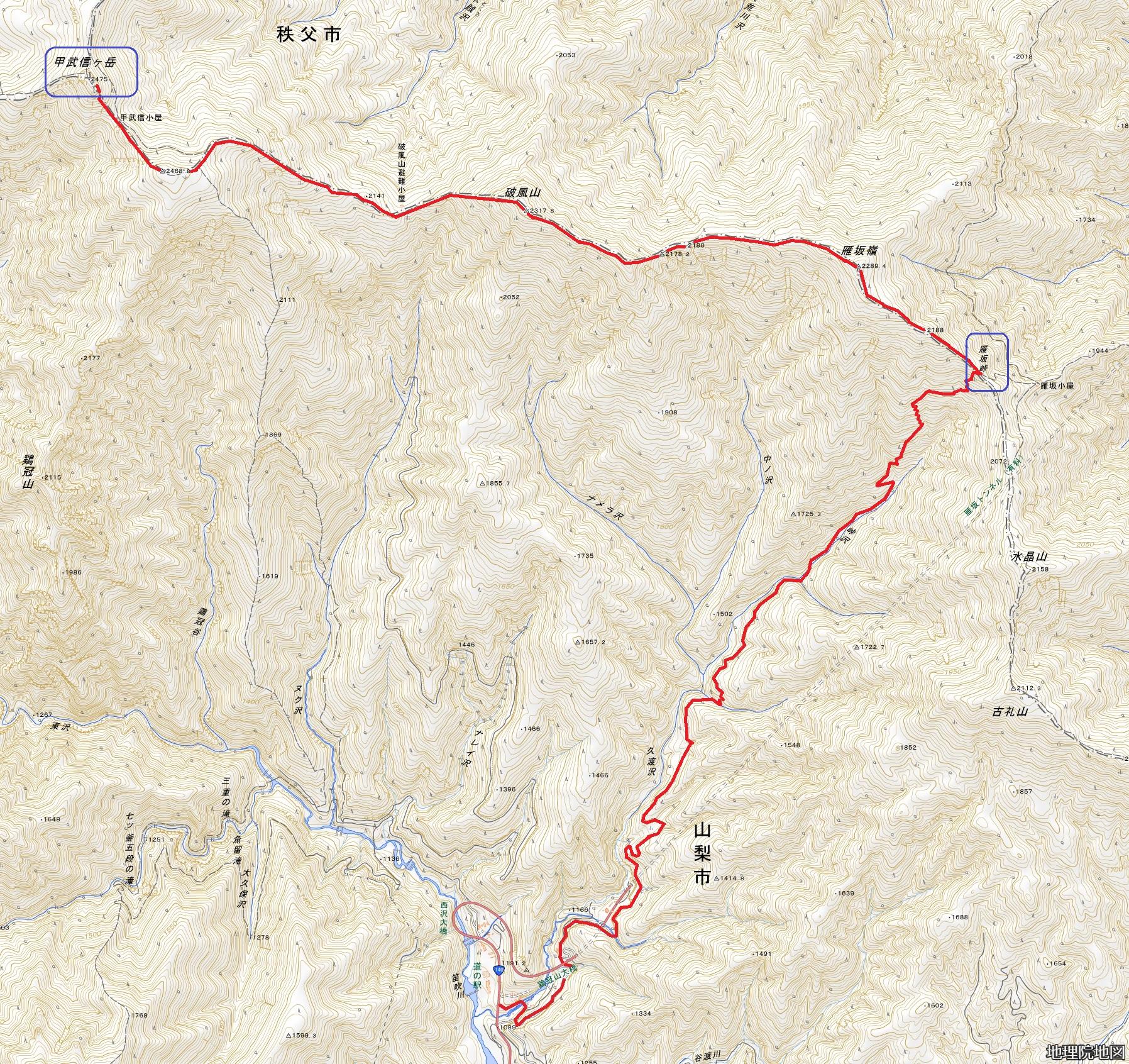 甲武信岳 登山コースマップ