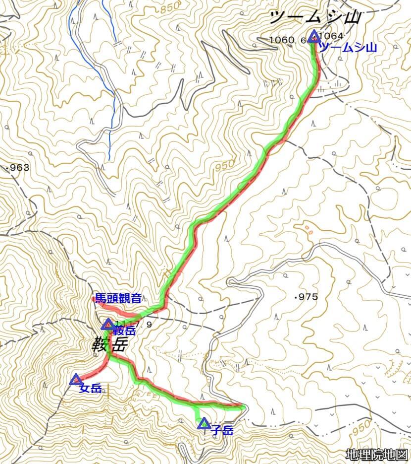 鞍岳登山ルート ツームシ山 子岳