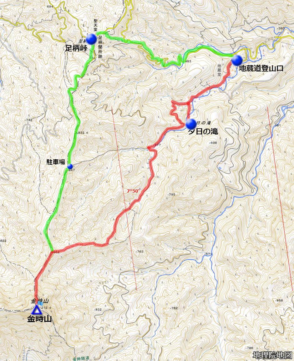 金時山 地蔵堂登山口からのルート 地理院地図