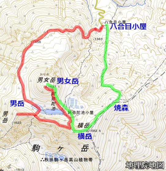 秋田駒ヶ岳 八合目小屋コース 地理院地図