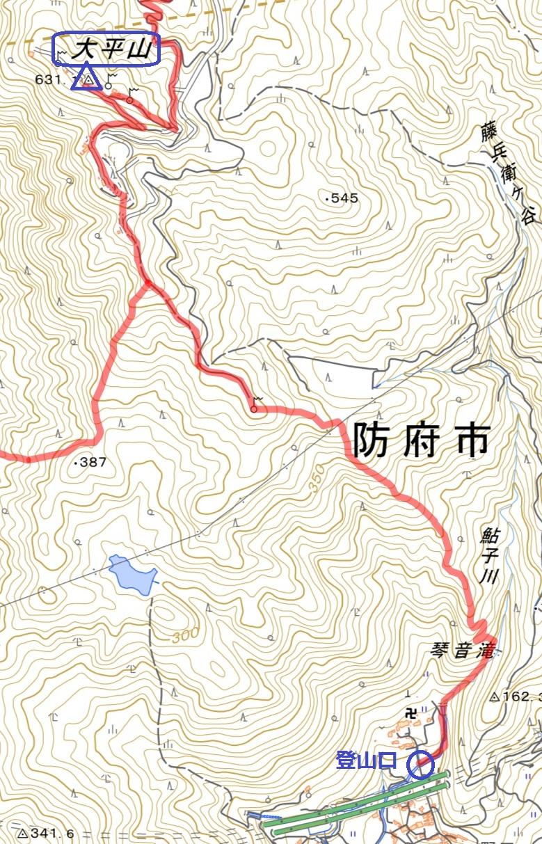 防府市 大平山 富海コース 地理院地図