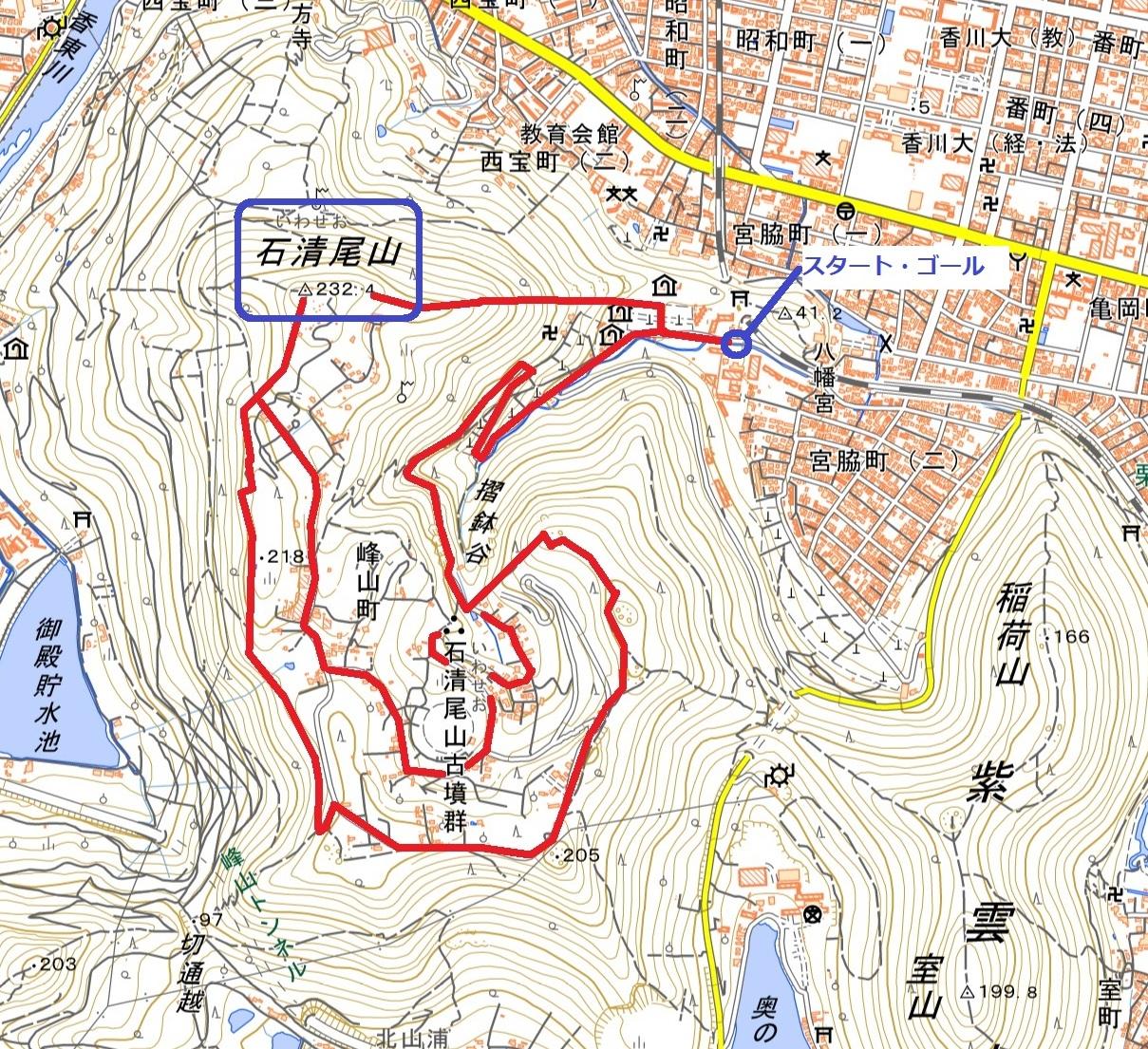 峰山公園 ハイキングコース地理院地図