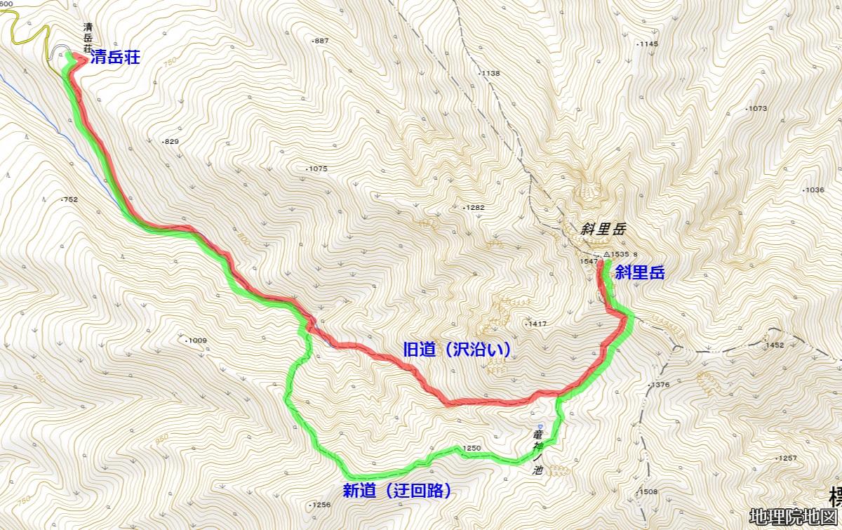 斜里岳登山 清岳荘コース 地理院地図