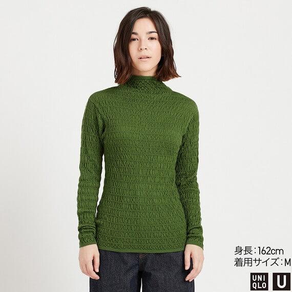ユニクロ メリノブレンドシャーリングセーター レディース