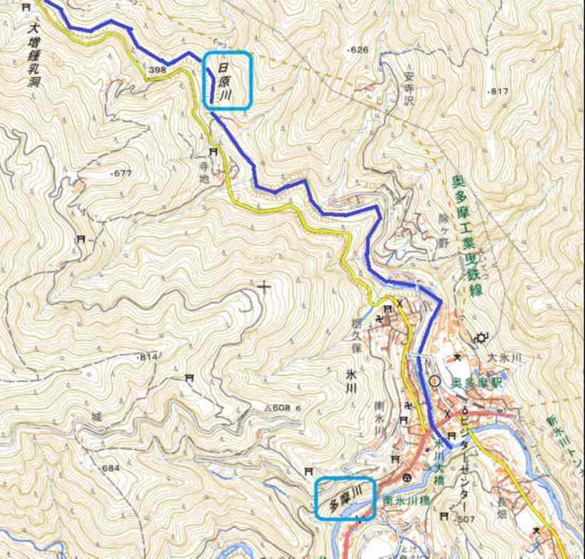 地理院地図 日原川と多摩川出合付近
