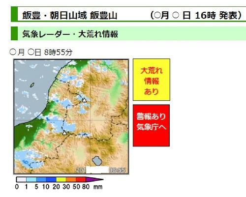 ヤマテン 天気予報気象レーダーデータの画面