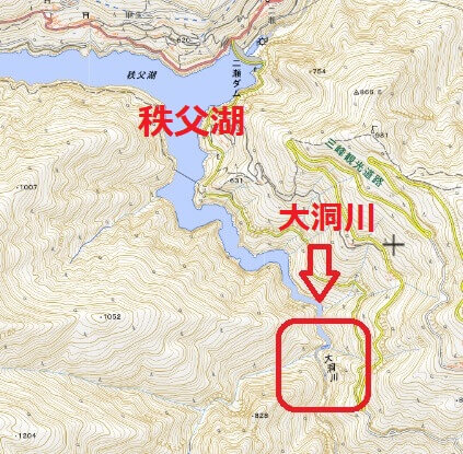 地理院地図 渓流釣りができる大洞川