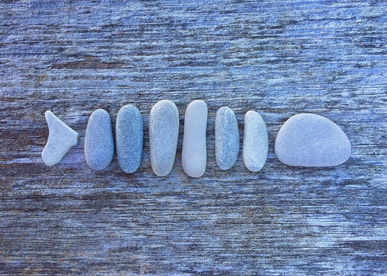 石で作った魚のアート
