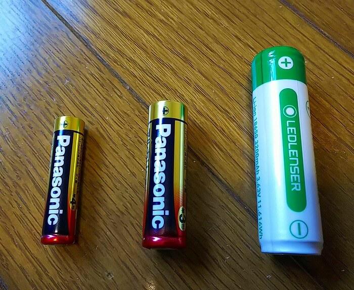 登山ライトメーカー レッドレンザーのヘッドライトのバッテリーと単三電池単四電池比較