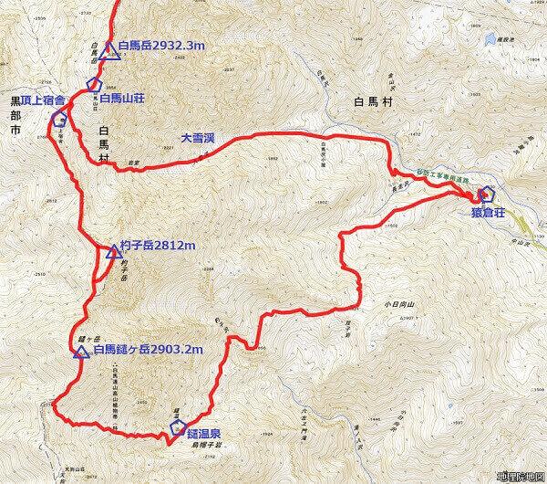 白馬岳 登山初心者に紹介 白馬三山:白馬岳、杓子岳、白馬鑓ヶ岳 地理院地図