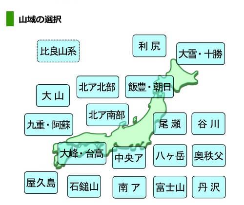 ヤマテン 天気予報 山域の選択の画面
