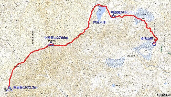 白馬岳 登山初心者に紹介 栂池から白馬岳 地理院地図