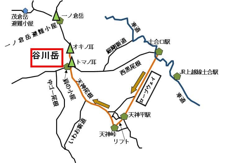 谷川岳 天神尾根コースのイラスト
