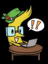 岳や本店キャラクターアイリスがPCを検索している画像