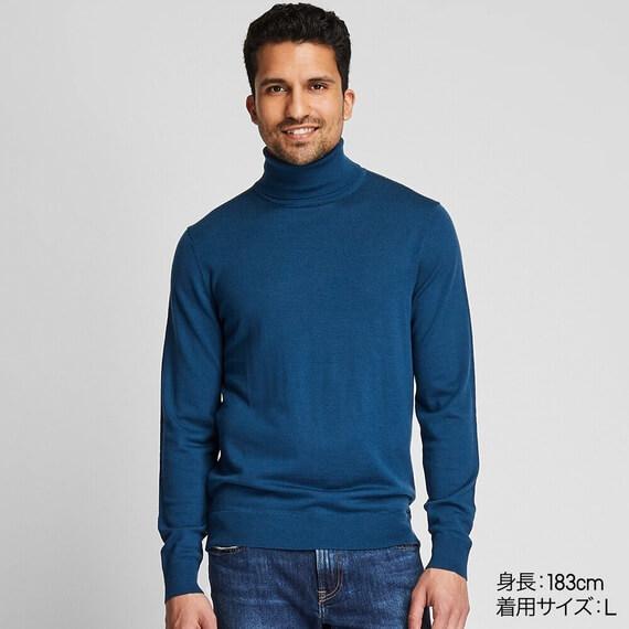 ユニクロ エクストラファインメリノタートルネックセーター(長袖) メンズ
