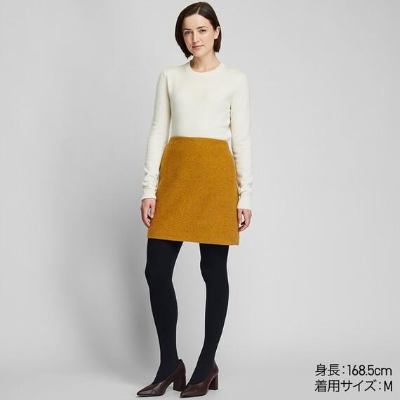 ユニクロ ウールブレンドミニスカート 黄色 レディース