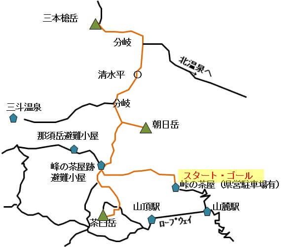 那須 茶臼岳朝日岳三本鎗岳コースのイラスト