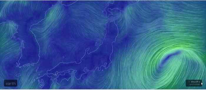 山の天気 earth.nullschool.net 風の天気予報 日本周辺の地図に風のながれがわかる線が書いてある