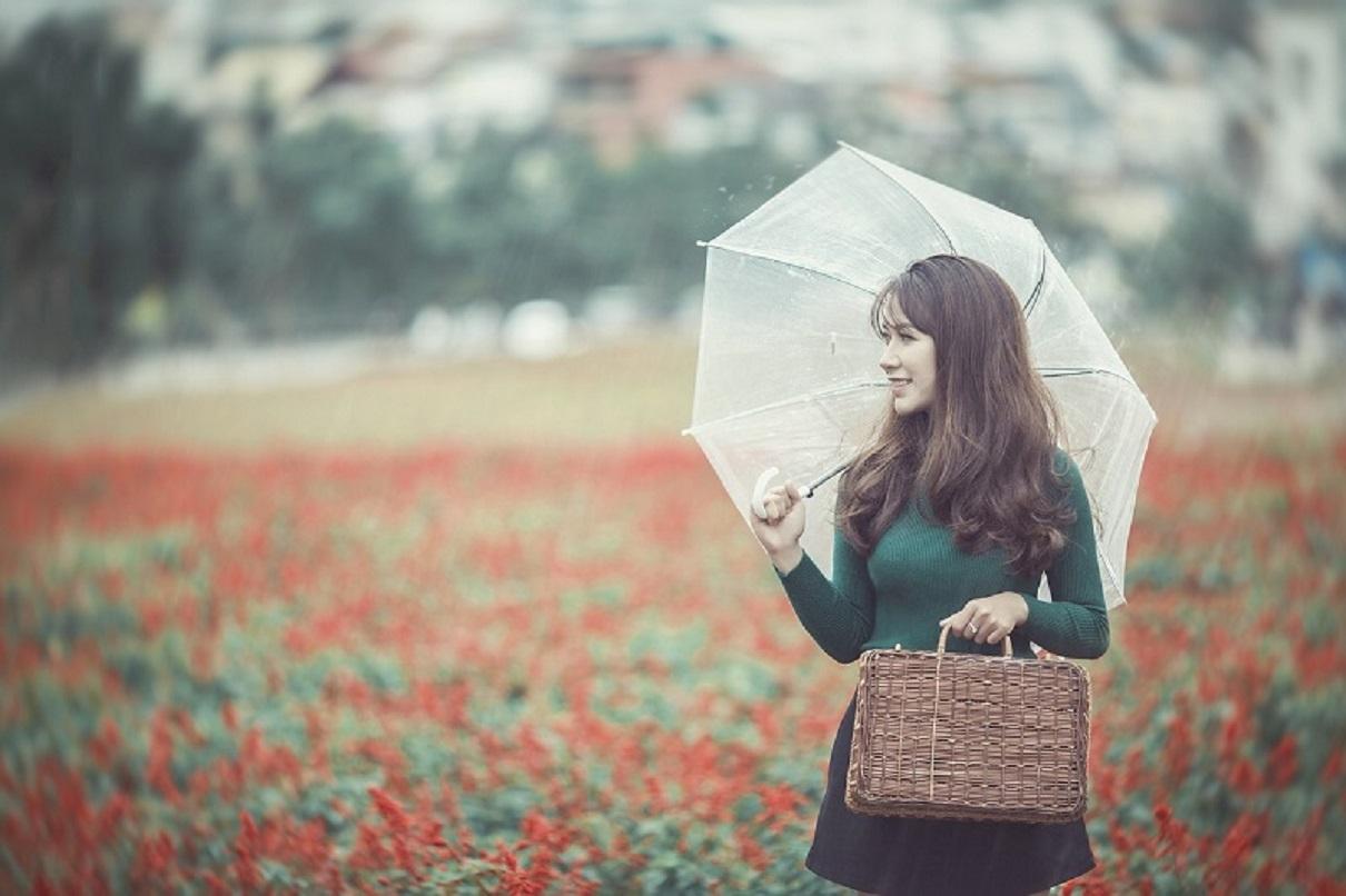 フェミニンな女性の雨のユニクロコーディネート