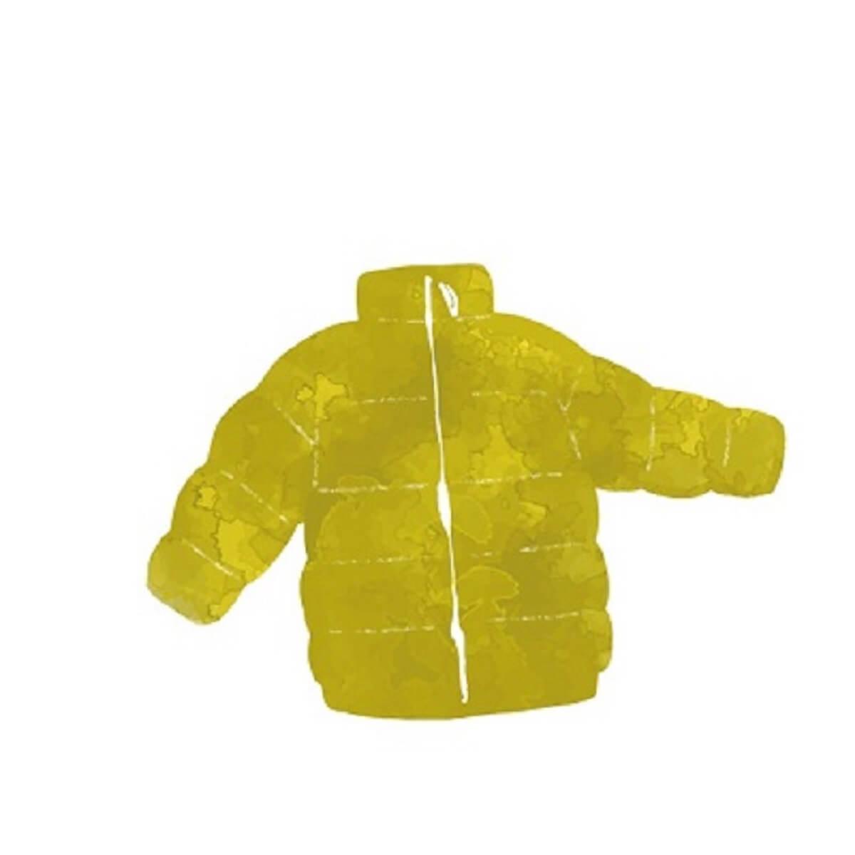 黄緑のダウンジャケット